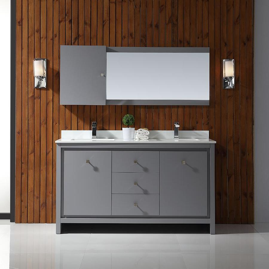 Ove Decors Kevin 60 In Pebble Gray Double Sink Bathroom Vanity With White Cultured Marble Top At