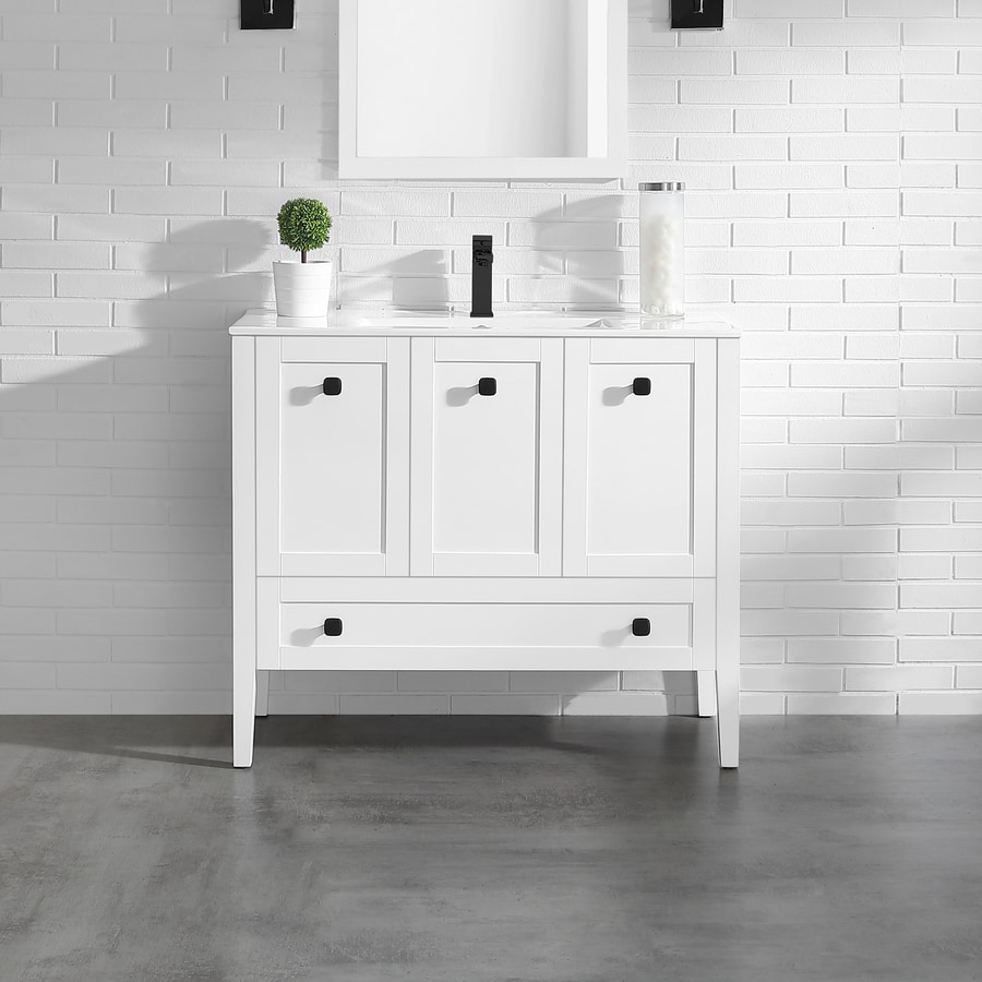 OVE Decors Andora Matte White Integral Single Sink Bathroom Vanity with Ceramic Top (Common: 40-in x 18-in; Actual: 40-in x 18.1-in)
