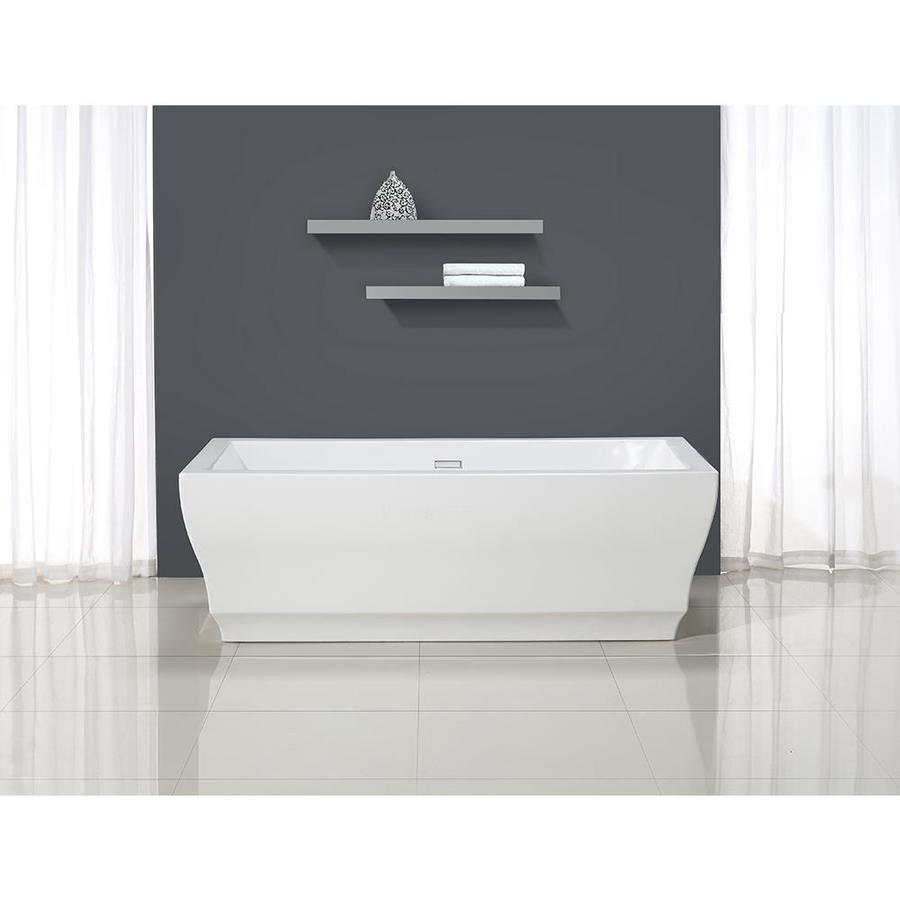 OVE Decors VITA Pure White Acrylic Rectangular Bathtub With Center Drain  (Common: 32