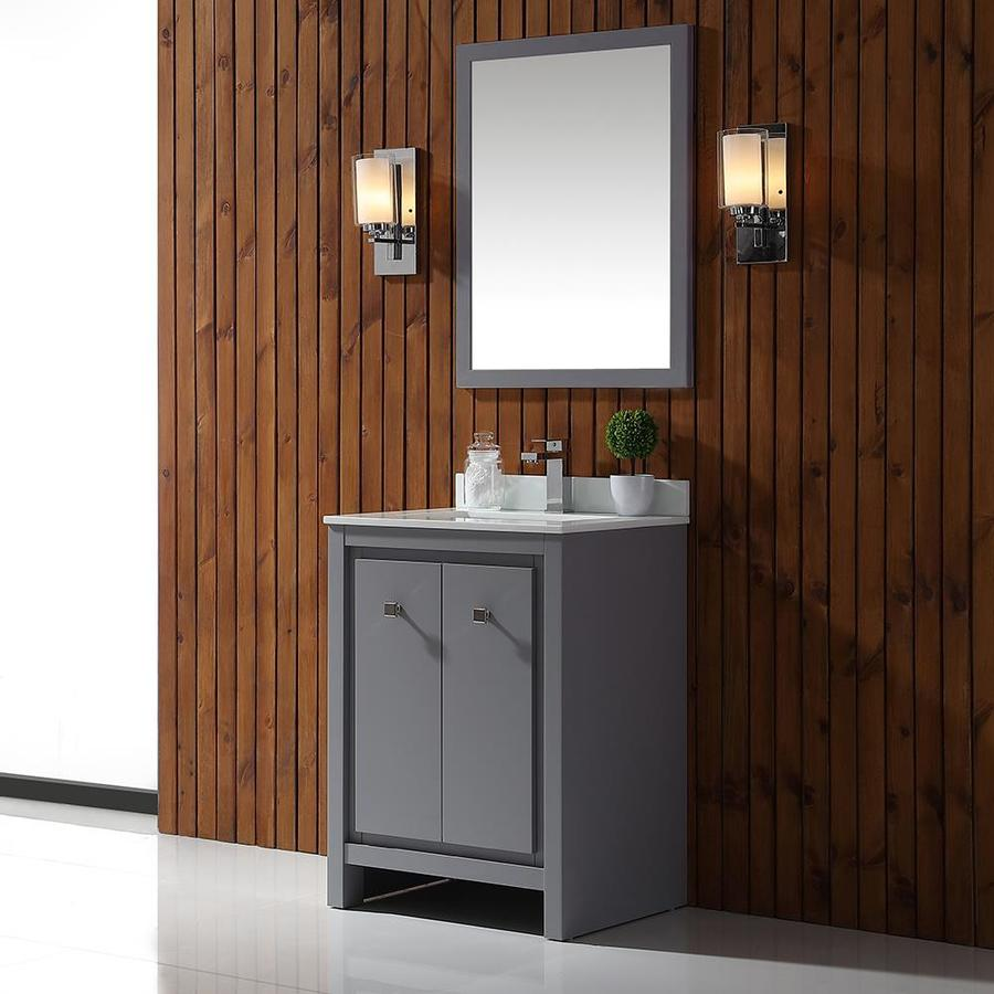 Shop Ove Decors Kevin Pebble Gray Undermount Single Sink Bathroom Vanity With Cultured Marble