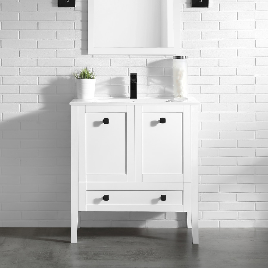 OVE Decors Andora Matte White Integral Single Sink Bathroom Vanity with Ceramic Top (Common: 32-in x 18-in; Actual: 32-in x 18.1-in)