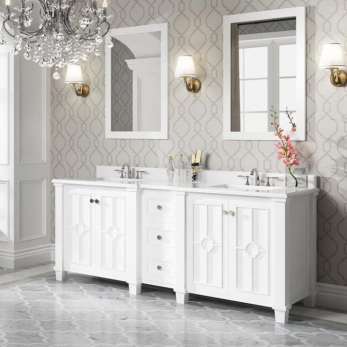 Ove Decors Positano 75 In White Double Sink Bathroom Vanity With White Cultured Marble Top In The Bathroom Vanities With Tops Department At Lowes Com
