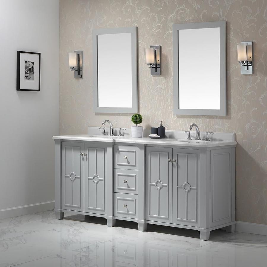 Ove Decors Positano 75 In Dove Gray Double Sink Bathroom Vanity With
