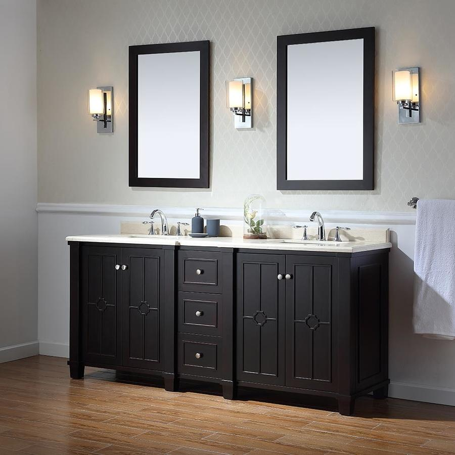 OVE Decors Positano Tobacco Undermount Double Sink Bathroom Vanity With  Natural Marble Top (Common: