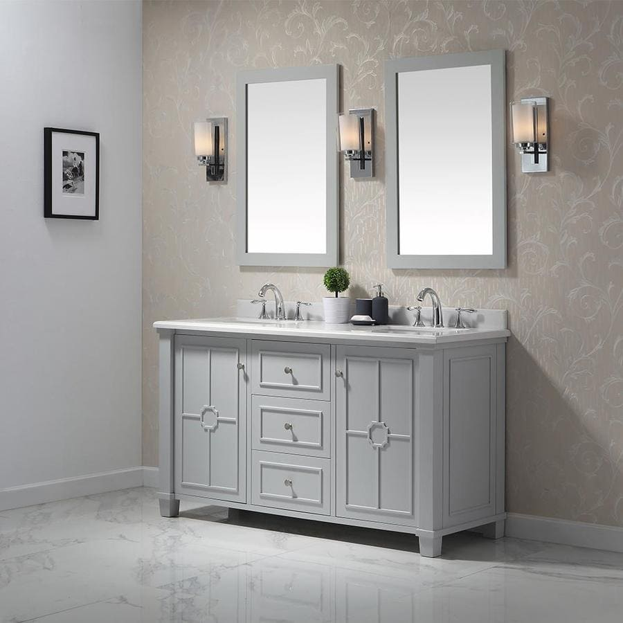 Shop Ove Decors Positano Dove Gray Undermount Double Sink Bathroom Vanity With Natural Marble