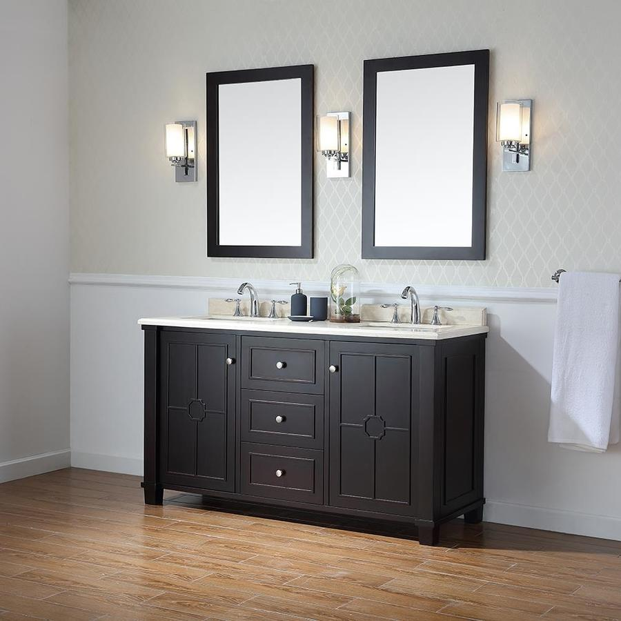 OVE Decors Positano Tobacco Undermount Double Sink Bathroom Vanity with Natural Marble Top (Common: 60-in x 22-in; Actual: 60-in x 22-in)