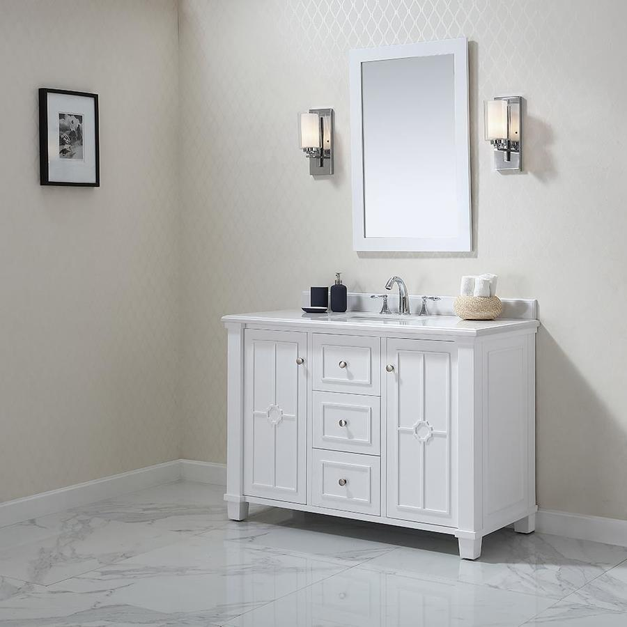 Shop Ove Decors Positano White Undermount Single Sink Bathroom Vanity With Natural Marble Top
