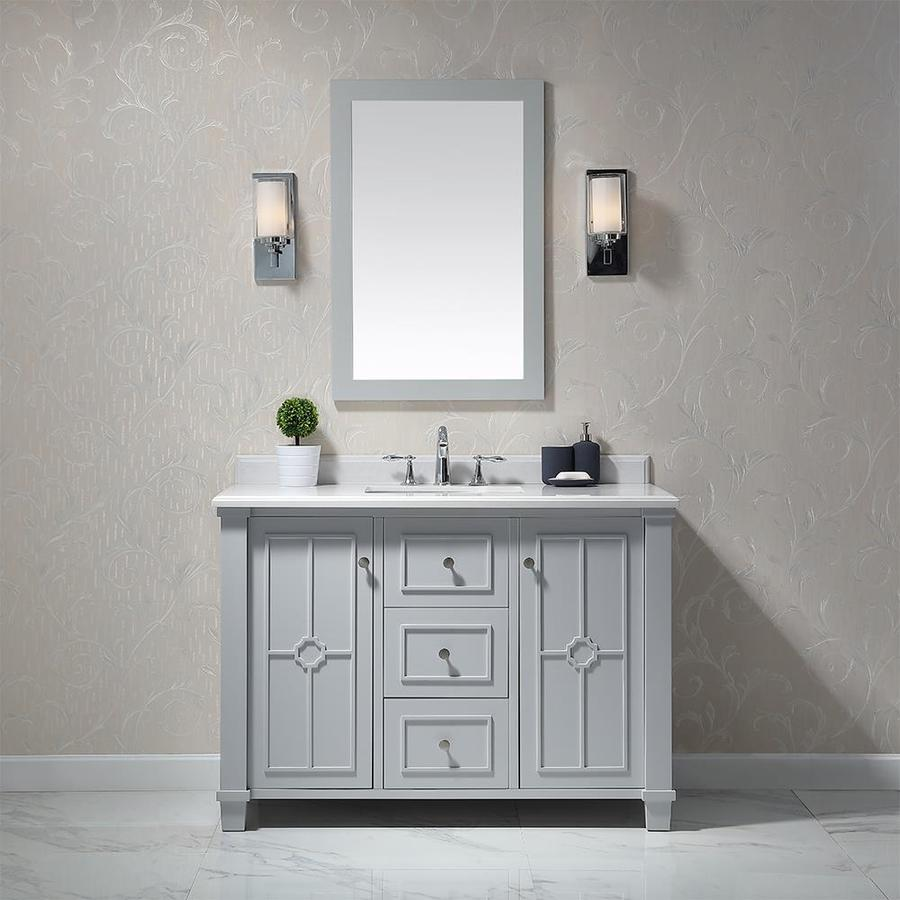 Shop Ove Decors Positano Dove Gray Undermount Single Sink Bathroom Vanity With Natural Marble