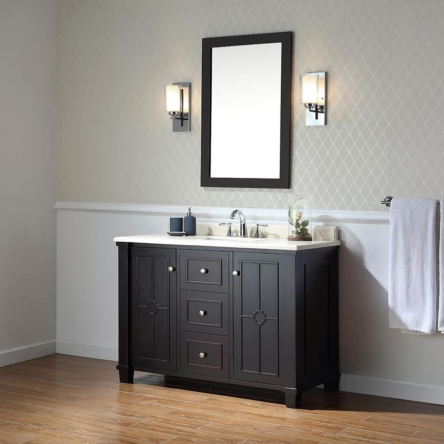 OVE Decors Positano Tobacco Undermount Single Sink Bathroom Vanity with Natural Marble Top (Common: 48-in x 22-in; Actual: 48-in x 22-in)