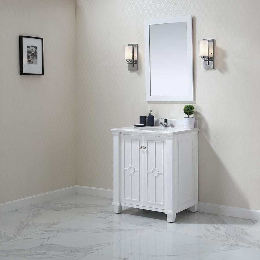 OVE Decors Positano White Undermount Single Sink Bathroom Vanity with Natural Marble Top (Common: 30-in x 22-in; Actual: 30-in x 22-in)