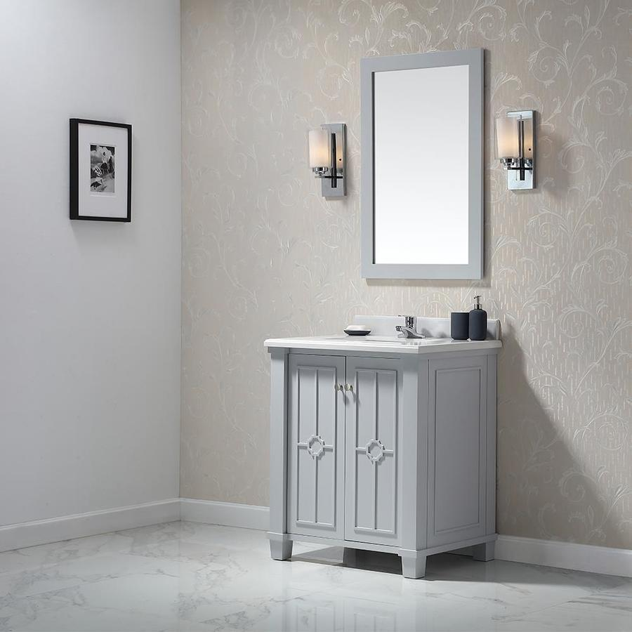 Shop ove decors positano dove gray single sink vanity with yves natural marble top common 30 for Gray bathroom vanity with top