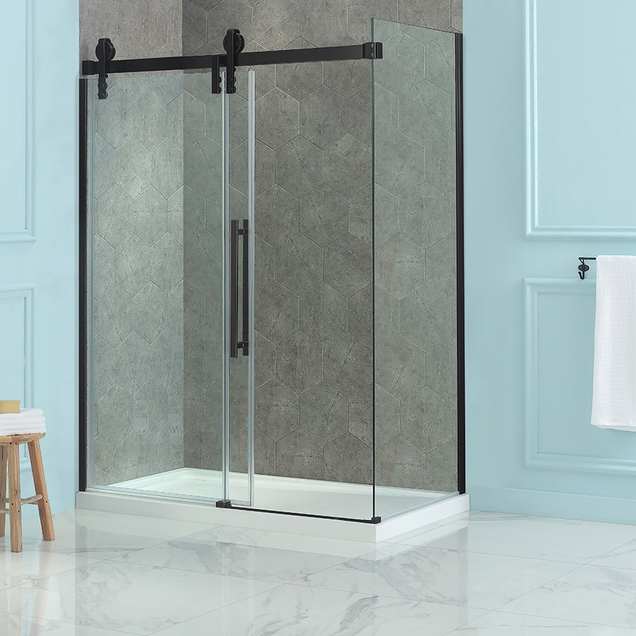 shop ove decors sedona h x w clear shower glass panel at. Black Bedroom Furniture Sets. Home Design Ideas
