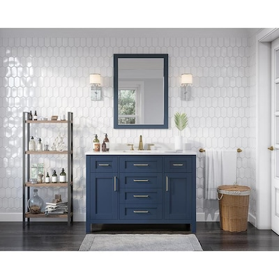 Tahoe 48 In Midnight Blue Single Sink 1 Mirror Bathroom Vanity With White Cultured Marble Top