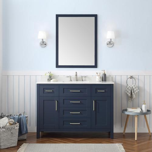 Ove Decors Tahoe 48 In Midnight Blue Single Sink Bathroom Vanity With White Cultured Marble Top