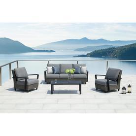 Bon OVE Decors Augusta 4 Piece Aluminum Frame Patio Conversation Set With  Sunbrella Acrylic Cushions