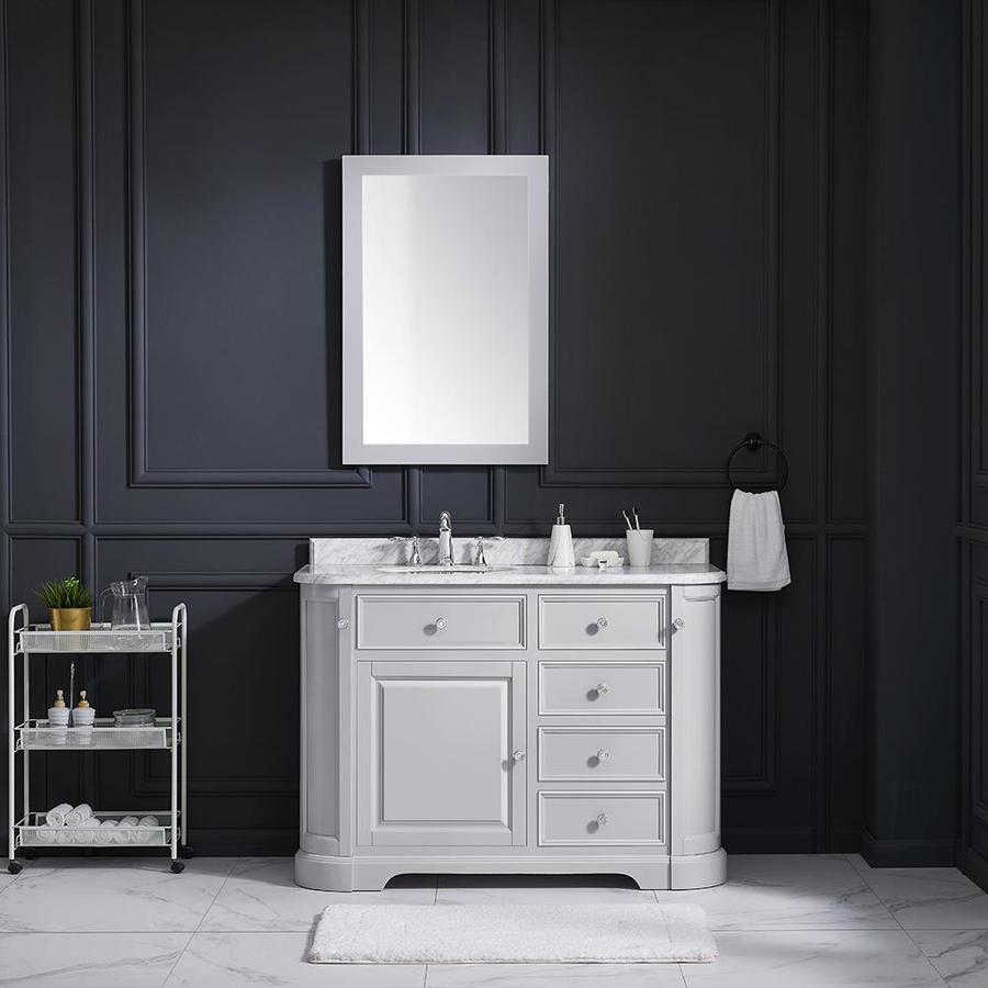Ove Decors Diana 48 In Dove Gray Single Sink Bathroom Vanity With Carrara Natural Marble Top In The Bathroom Vanities With Tops Department At Lowes Com