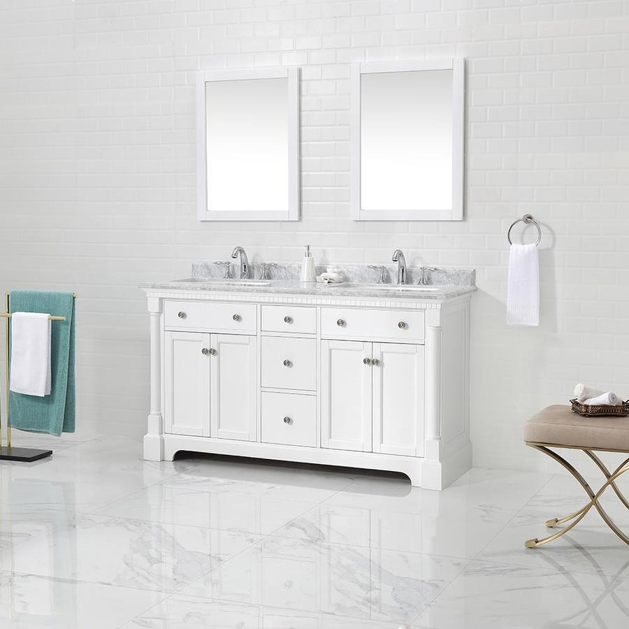 Ove Decors Claudia 60 In White Double Sink Bathroom Vanity With Carrara Natural Marble Top At