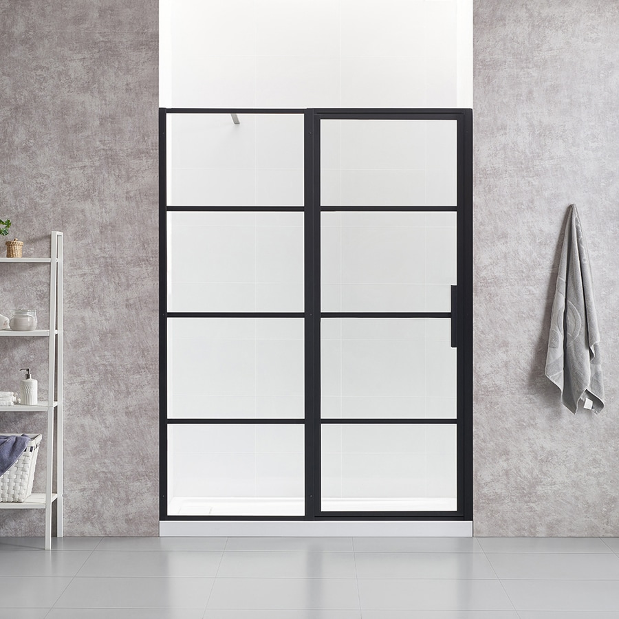 Ove Decors Milano 58 25 In To 59 75 In W Framed Pivot Black Shower Door At Lowes Com