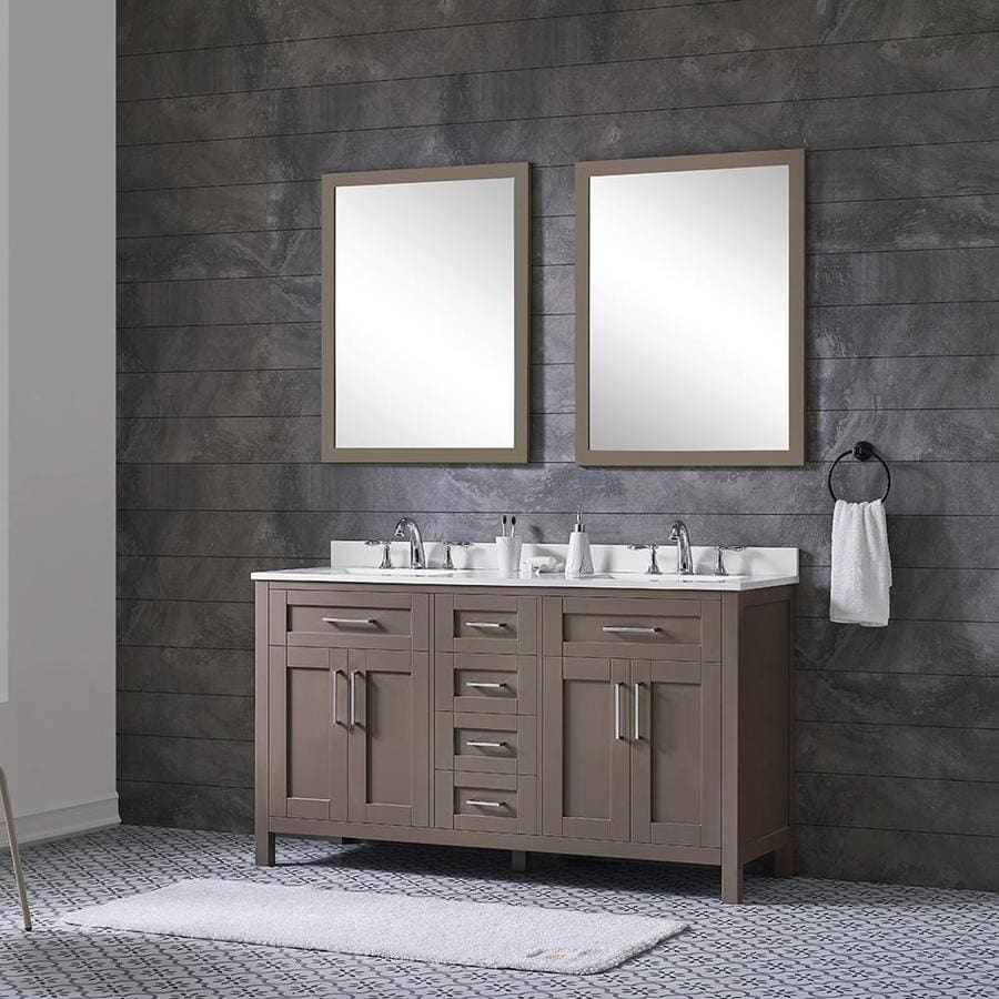 Marble Saddle For Bathroom: Shop OVE Decors Tahoe Saddle Brown Double Sink Vanity With