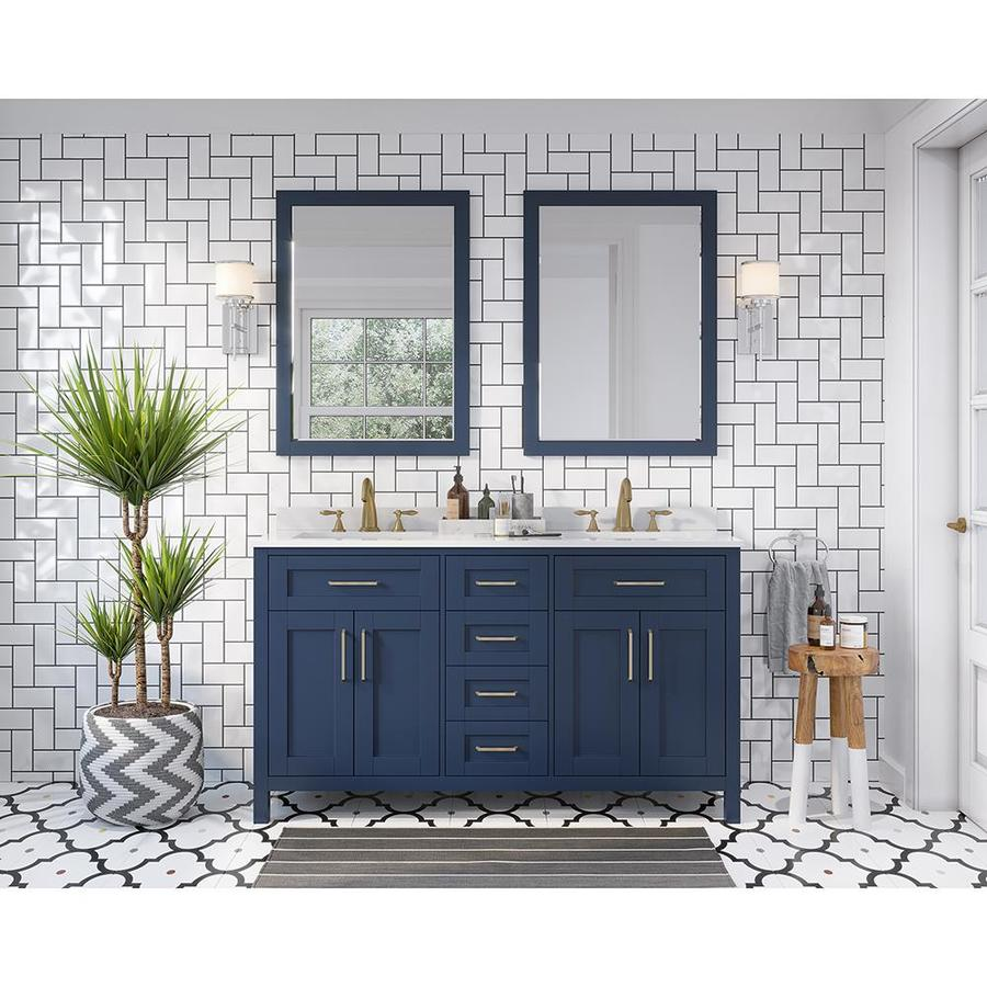 Ove Decors Tahoe 60 In Midnight Blue Double Sink Bathroom