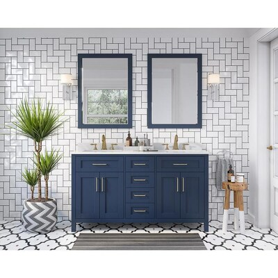 buy online cad91 532d6 Tahoe 60-in Midnight Blue Double Sink Bathroom Vanity with White Cultured  Marble Top