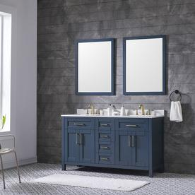 Ove Decors Tahoe 60 In Midnight Blue Double Sink Bathroom Vanity With Ay White Natural
