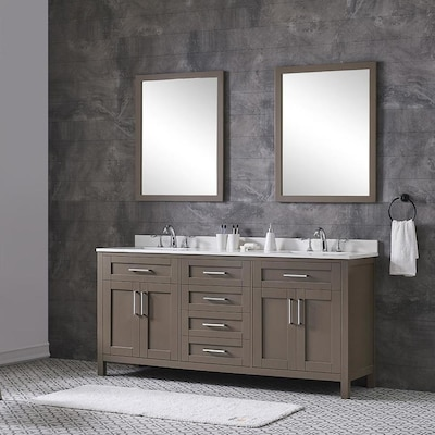 Tahoe 72 In Saddle Brown Double Sink Bathroom Vanity With White Quartz Top