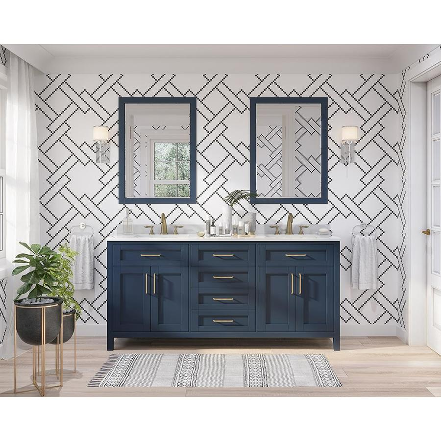 OVE Decors Tahoe Midnight Blue Double Sink Vanity with Bombay White Natural Marble Top (Common