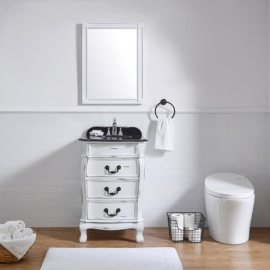 Ove decors mayfair 22 5 in antique white single sink - White bathroom vanity with black top ...