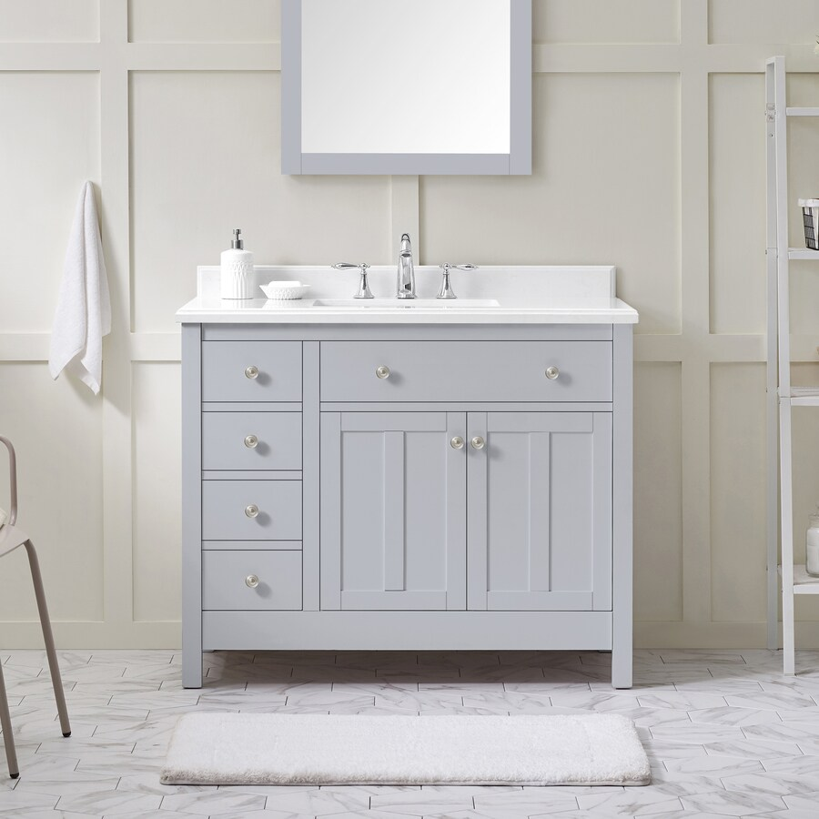 Ove Decors Newcastle 42 In Dove Gray Undermount Single Sink Bathroom Vanity With Yves Cultured Marble Top In The Bathroom Vanities With Tops Department At Lowes Com