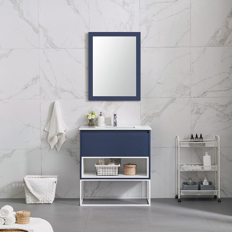 Ove Decors Mason 32 In Navy Blue Single Sink Bathroom Vanity With White Ceramic Top At Lowes Com