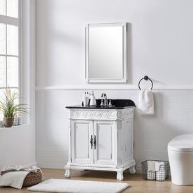 Ove Decors T Antique White Single Sink Vanity With Black Granite Top Common 30