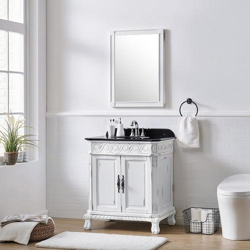 Ove Decors Trent 30 In Antique White Single Sink Bathroom Vanity With Black Granite Top In The Bathroom Vanities With Tops Department At Lowes Com