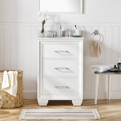 Floyd 24 In White Single Sink Bathroom Vanity With Bombay White Cultured Marble Top