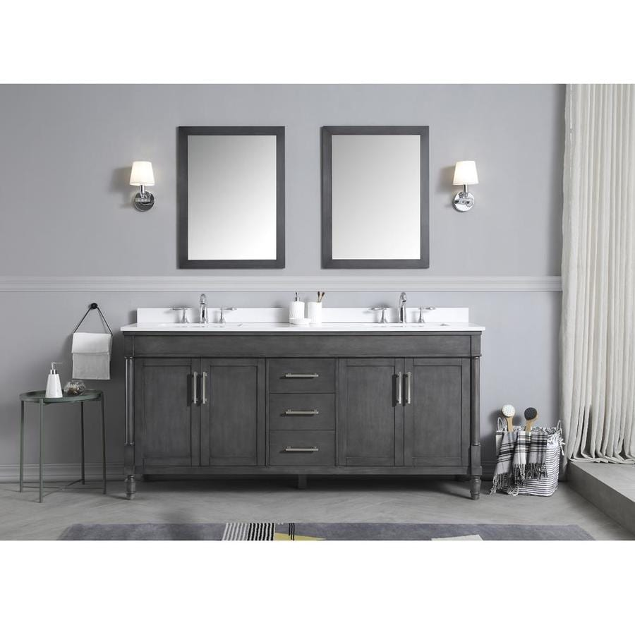 Ove Decors Layla 72 In Iron Gray Double Sink Bathroom
