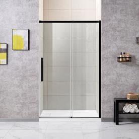 OVE Decors Venice 46.75-in to 47.5-in W Semi-frameless Matte Black Bypass/Sliding Shower Door