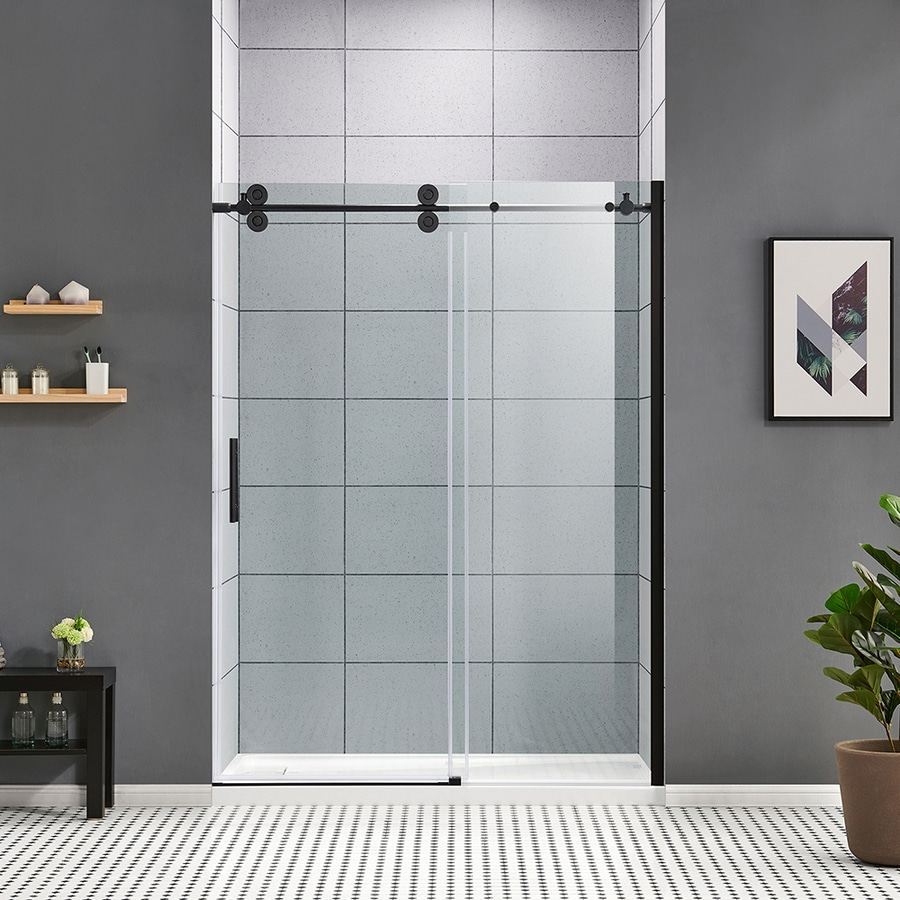 Ove Decors Sydney 78 75 In H X 58 25 In To 59 75 In W Frameless Bypass Sliding Matte Black Shower Door Clear Glass In The Shower Doors Department At Lowes Com