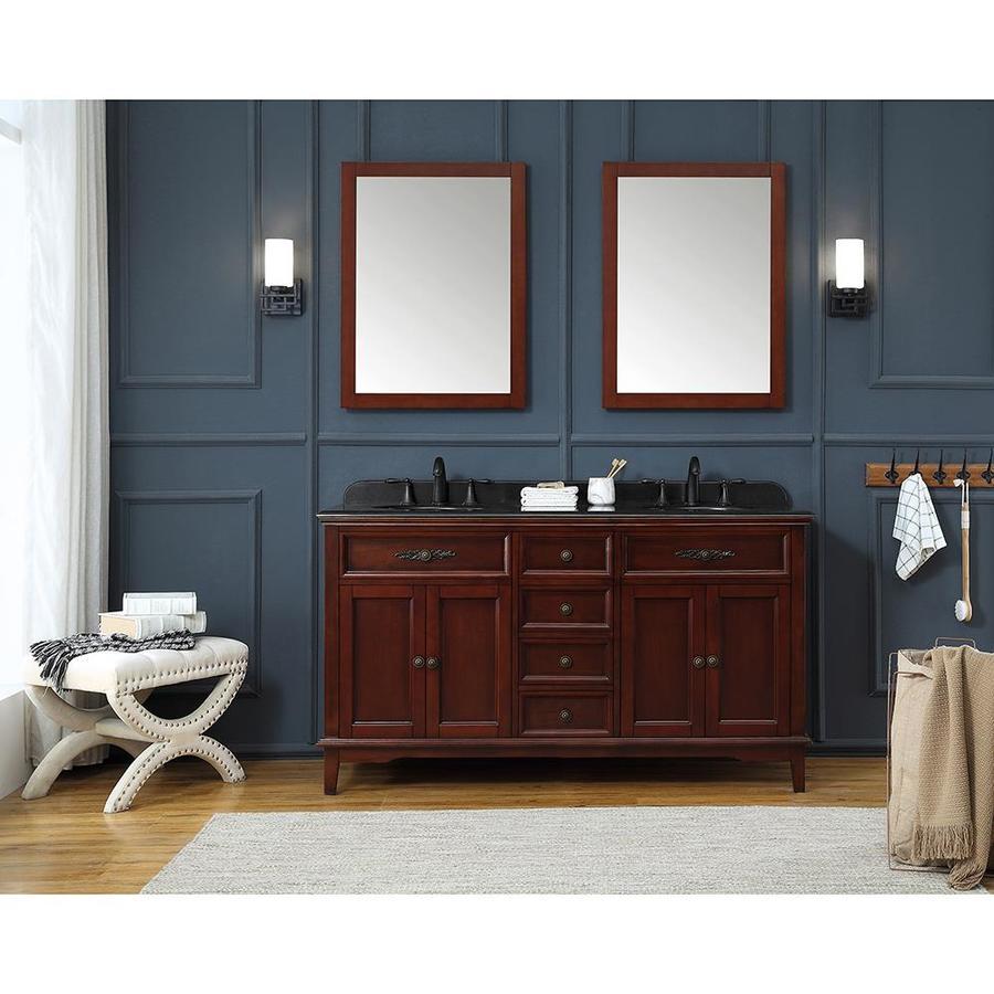 Ove Decors Doncaster 60 In Dark Cherry Double Sink Bathroom Vanity With Black Granite Top In The Bathroom Vanities With Tops Department At Lowes Com