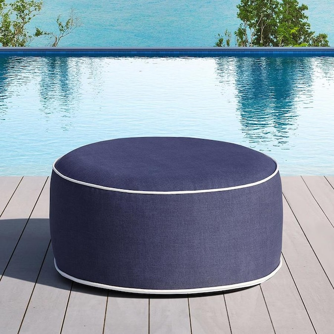 Ove Decors Marlowe 21 In Solid Blue Inflatable Ottoman In The Outdoor Ottomans Foot Stools Department At Lowes Com