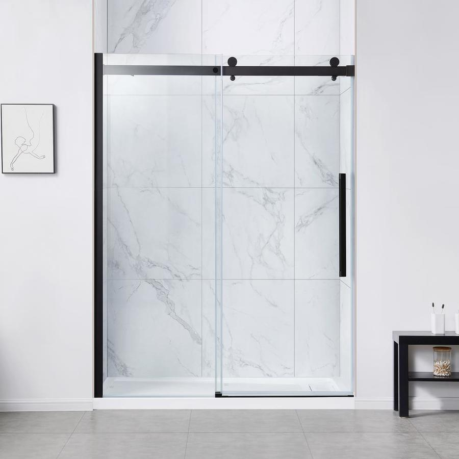 Ove Decors Bel Soft Close 78 75 In H X 58 2 In To 60 In W Frameless Bypass Sliding Matte Black Shower Door Clear Glass In The Shower Doors Department At Lowes Com