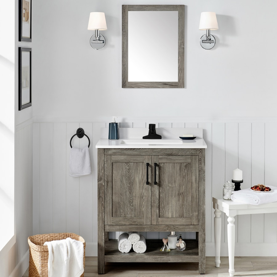 Ove Decors Charles 30 In Weathered Gray Undermount Single Sink Bathroom Vanity With White Engineered Stone Top Mirror Included In The Bathroom Vanities With Tops Department At Lowes Com