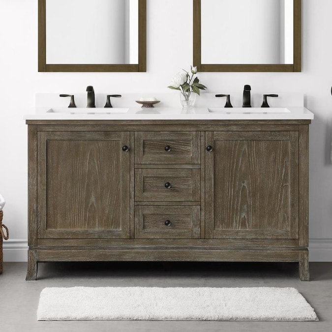 Martha Stewart Meadow 60 In Cerused Walnut Undermount Double Sink Bathroom Vanity With White Engineered Stone Top The Vanities Tops Department At Lowes Com