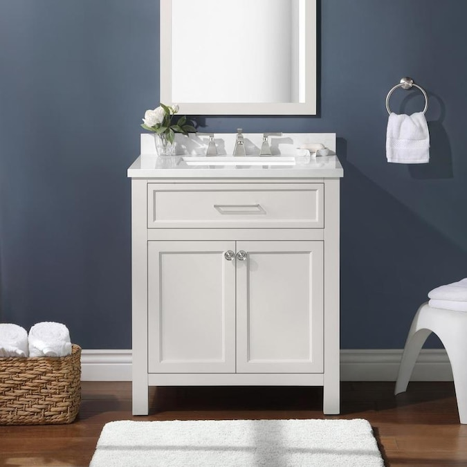 Martha Stewart Oakland 30 In White Undermount Single Sink Bathroom Vanity With Engineered Stone Top The Vanities Tops Department At Lowes Com