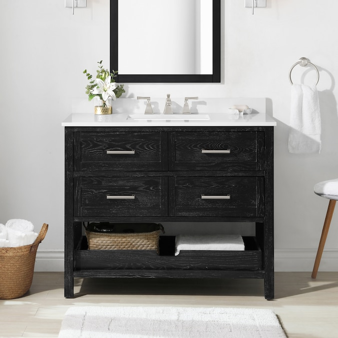 Martha Stewart Hillcrest 42 In Black Cerused Undermount Single Sink Bathroom Vanity With White Engineered Stone Top The Vanities Tops Department At Lowes Com