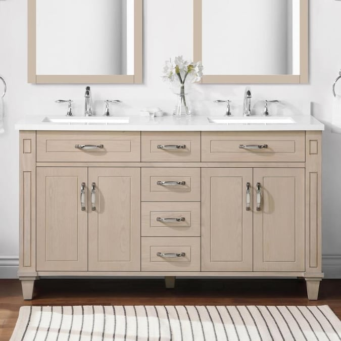 Martha Stewart Thornfield 60 In White Washed Maple Undermount Double Sink Bathroom Vanity With Engineered Stone Top The Vanities Tops Department At Lowes Com