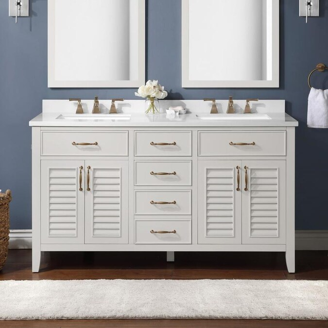Martha Stewart Lakeside 60 In White Undermount Double Sink Bathroom Vanity With Yves Cultured Marble Top The Vanities Tops Department At Lowes Com