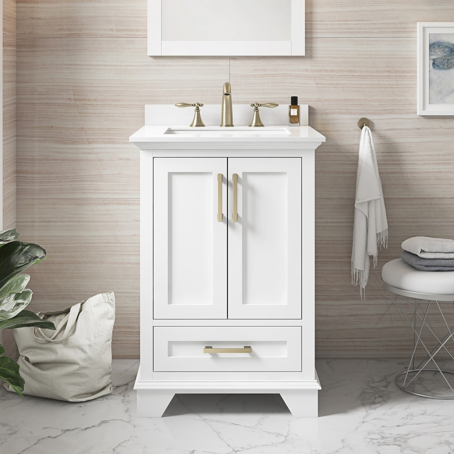 Allen Roth Hamburg 24 In White Undermount Single Sink Bathroom Vanity With White Cultured Marble Top In The Bathroom Vanities With Tops Department At Lowes Com