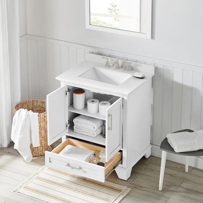 allen + roth Hamburg 30-in White Single Sink Bathroom ...
