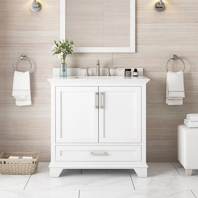 allen + roth Hamburg 36-in White Single Sink Bathroom ...