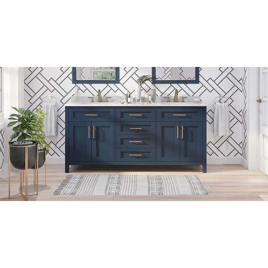 Ove Decors Tahoe 72 In Midnight Blue Undermount Double Sink Bathroom Vanity With White Engineered Stone Top In The Bathroom Vanities With Tops Department At Lowes Com